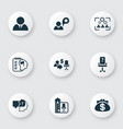 business management icons set with employee self vector image