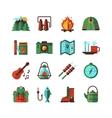 Camping Hiking Flat Icons Set vector image