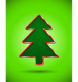 Card with dark cut christmas tree silhouette vector image