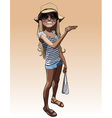 cartoon smiling girl in a summer clothes vector image