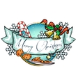 Christmas label with ribbon banner vector image