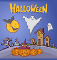 color cartoon shapes on halloween theme vector image