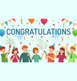 congratulations card happy people congratulate vector image