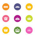 coronal icons set flat style vector image vector image