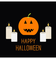 Cute funny pumpkin Candle light Halloween card for vector image