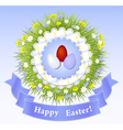 Easter Congratulation with eggs grass ribbon vector image
