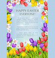 easter flowers poster paschal greeting card vector image vector image