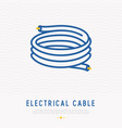 electrical cable thin line icon vector image vector image