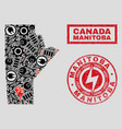 electrical mosaic manitoba province map and vector image vector image