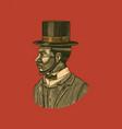 elegant man male face afro american gentlemen vector image vector image