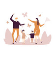 family catching butterflies - flat design style vector image vector image