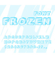 Frozen font Ice alphabet Transparent ABC Cold blue vector image