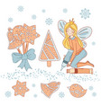 gingerbread fairy cartoon set vector image