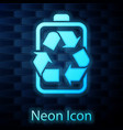 glowing neon battery with recycle symbol line icon vector image vector image