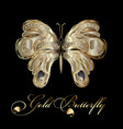 gold decorative textured butterfly vector image vector image