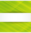 Green abstract background with white banner vector image
