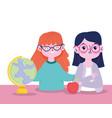 happy teachers day teacher characters school map vector image vector image