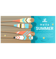 hello summer background with canoe paddles vector image vector image