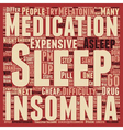 Insomnia text background wordcloud concept vector image vector image