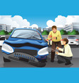 insurance agent assessing a car accident vector image