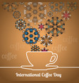 international coffee day card with silhouette cup vector image vector image