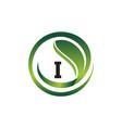 leaf initial i logo design template vector image vector image