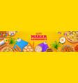 makar sankranti wallpaper with colorful kite for vector image vector image