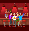 male friends sitting in bar and drinking beer vector image