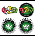 Marijuana leaf design stamps vector image