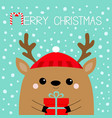 merry christmas raindeer deer head face holding vector image vector image