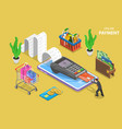 mobile payment flat isometric conceptual vector image vector image