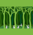 nature with white rabbits the gang in green forest vector image vector image