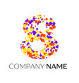 number eight logo with purple yellow particles vector image