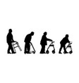 old disabled people with strolls walker silhouette vector image vector image