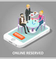 online reserved table vector image