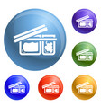 open lunchbox icons set vector image vector image