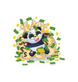 panda sticker emoticon lies and celebrates vector image vector image