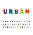 paper cut out 3d alphabet modern urban font vector image vector image