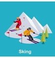 People Skiing Flat Style Design vector image vector image