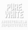 pure white alphabet shadow vector image vector image