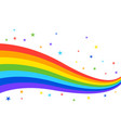 rainbow wave and stars isolated on white vector image