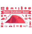 rent outdoor gear camping gear rental mountain vector image