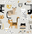 seamless childish pattern with hand drawn cats in vector image vector image