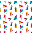 seamless pattern with superheroes or men and women vector image