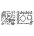 set black line floral design elements in henna vector image