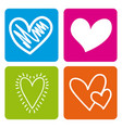 set love hearts passion emotion colors icons vector image