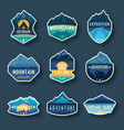 set nine mountain travel emblems camping vector image vector image