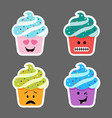 set of cupcake emojis icons vector image