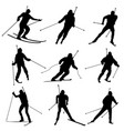 set of silhouettes biathletes vector image