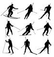 Set silhouettes biathletes